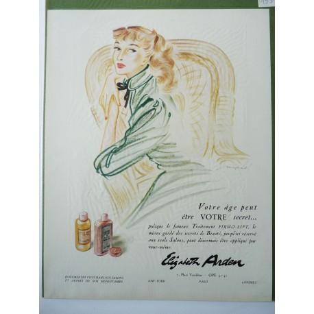 Ancienne publicité originale couleur Firmo-Lift de Elizabeth Arden de Mayhard 1951