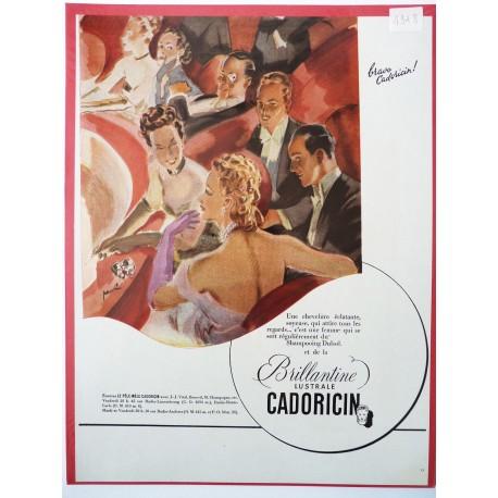 Ancienne publicité originale couleur pour la brillantine Cadoricin de Paulin 1948