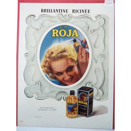 Ancienne publicité originale couleur pour la brillantine Roja 1947