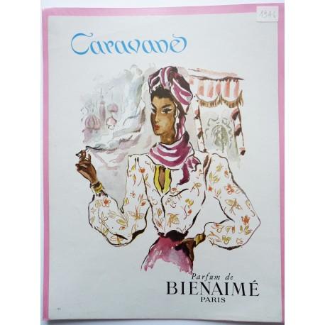 Ancienne publicité originale couleur Caravane de Bienaimé 1946