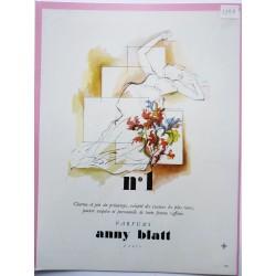 Ancienne publicité originale couleur N°1 de Anny Blatt  Illustration de Louis Moles 1947