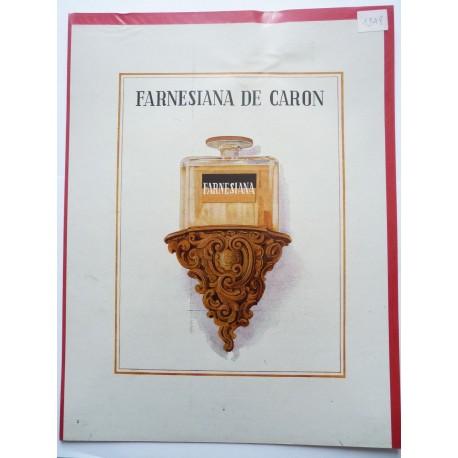 Ancienne publicité originale couleur Farnesiana de Caron 1948