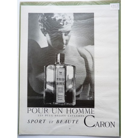 Ancienne publicité originale noir & blanc Pour un Homme de Caron 1953