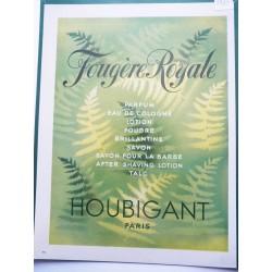 Ancienne publicité originale couleur Fougère Royale de Houbigant 1949