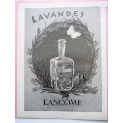 Ancienne publicité originale noir & blanc Lavandes de Lancôme  Illustration de E. M. Pérot 1952
