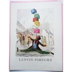Ancienne publicité originale couleur pour les parfums Lanvin  Illustration de Guillaume Gillet 1954