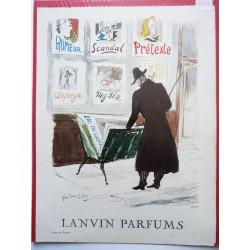Ancienne publicité originale couleur pour les parfums Lanvin  Illustration de Guillaume Gillet 1953