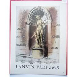 Ancienne publicité originale couleur pour les parfums Lanvin  Illustration de Guillaume Gillet 1948