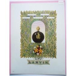 Ancienne publicité originale couleur pour les parfums Lanvin  Illustration de Jacques Nathan 1946