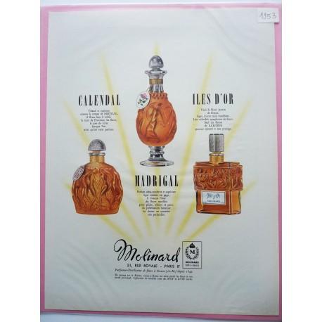Ancienne publicité originale couleur pour les parfums Molinard 1953