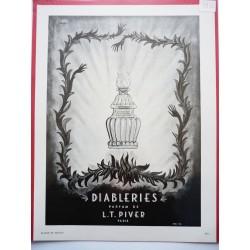 Ancienne publicité originale noir & blanc Diableries de L.T. Piver  Illustration de Volt 1950
