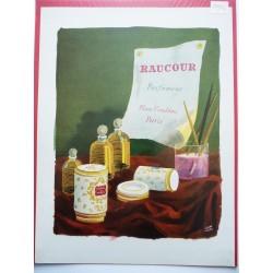 Ancienne publicité originale couleur pour les parfums Raucour  Illustration de Pierre Pagès 1946